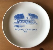 "1972 Sandusky Yacht Club Plate SYC White Blue 9 7/8"" Collectible Lake Erie Ohio"