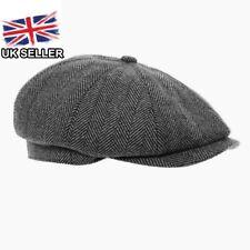 5e38ab57914 GREY TWEED HERRINGBONE NEWSBOY CAP 8 PANEL BAKER BOY PEAKY BLINDER UK SELLER