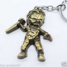 New Child's Play Chucky Metal Keyring Keychain Gold Color