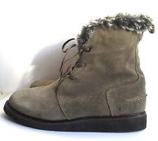 Lacoste Khaki Suede Leather faux fur collar Ankle Boots UK6 EU39