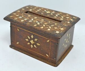 Antique Wooden Cigarettes Dispenser Box Original Old Hand Crafted Bone Inlay