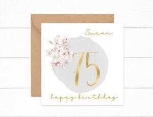 Personalised 75th Birthday Card Gold Floral Auntie Mum Grandma Friend Daughter
