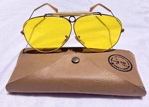 Vtg B&L RAY-BAN Ambermatic Aviator Shooter Glasses 1/10 12K GF Case Kalichrome