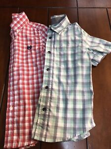 5T Boys CHAPS Short Sleeve Button Up Lot Blue Red