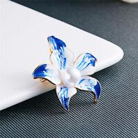 DIY Bouquet Jewelry Blue Flower Crystal Pearl Brooch Wedding Bridal Pin LG