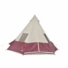 Wenzel Shenanigan Large 5 Person Trail Camping Easy-Setup Teepee Tent, Red Plaid