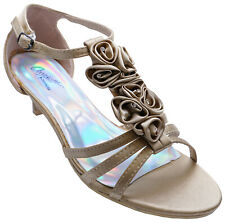 WOMENS GOLD LOW-HEEL T-BAR OPEN-TOE STRAPPY EVENING SANDALS SATIN SHOES UK 3-8