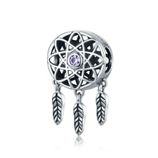 S925 Sterling Silver EURO Dreamcatcher Purple CZ Charm by Pandora's Angels