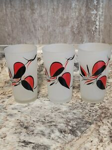 Vintage Gay Fad Frosted High Ball Glass Hand Painted Red/Black Tumblers 1950s
