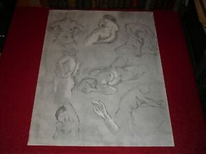 [ André LANDAUD 1924-2013] Naked Female Grd Drawing Charcoal-Pastel Paper White