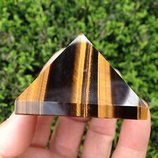 84g Pretty natural golden tiger's eye crystal pyramid heaing china   G674