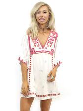 $168 Free People Tulum Ivory Combo Embroidered Mini Dress Tunic Boho Ethnic M L