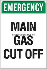 Main Gas Cut Off Sign Safety Signs Australian Made Quality Printed Sign