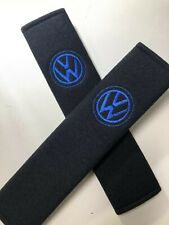 Embroidered Vw Universal Seat Belt Shoulder Pads Pair Black With Blue Logo