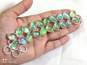 Triplet Fire Opal Gemstone Handmade Fashion Jewelry Silver Bracelet B-435