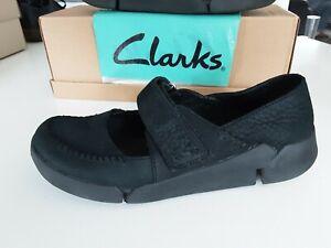 Clarks TRIGENIC Tri Amanda Black Nubuck Leather Mary Jane Casual Shoes size 4.5
