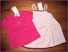 NWT Gymboree Girls Khaki Crochet Trim Jumper Dress~Pink Shirred Shirt 12-18-24M