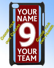 FOOTBALL TEAM COLOURS IPOD TOUCH 4 CASE / REAR COVER - ANY COLOURS & NAME ADDED
