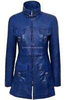 MISTRESS' Ladies Leather Jacket Blue Napa Mid Length Coat Casual Fashion 1310