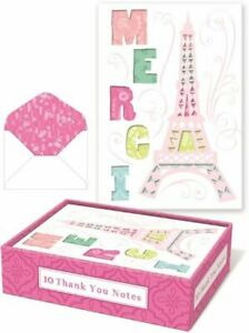10 MERCI EIFFEL TOWER Laser Cut NOTE CARDS & ENVELOPES Die-Cut FRENCH THANK YOU