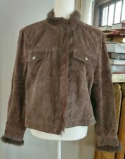 coldwater creek womens coat sz PL 100% leather shell brown