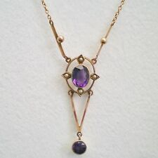 Charming Antique Art Deco 9ct Gold Amethyst & Pearl set Drop Necklace c1925