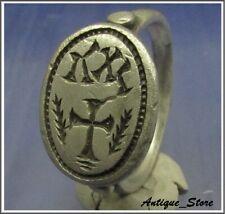 ** IC - XC ** Ancient Silver Byzantine Ring ** CROSS ** RARE **