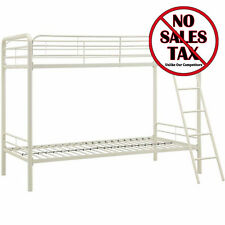 Metal Bunk Bed Twin Over Twin Bunkbeds Teens Kids Dorm Ladder Furniture White