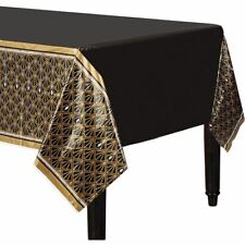 Hollywood Plastic Black Gold 20s Gatsby Flapper Tablecover Cloth 1.37m x 2.6m