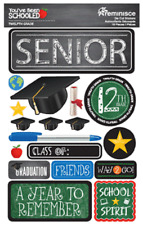 Scrapbooking Crafts Stickers 3D School Senior 12th Grade Graduation Cap Diploma