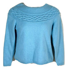 Talbots petites pullover sweater size large womens blue long sleeve scoop neck