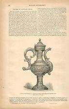 Aiguière en Vermeil ciselé Moyen-Age Allemagne GRAVURE ANTIQUE OLD PRINT 1879