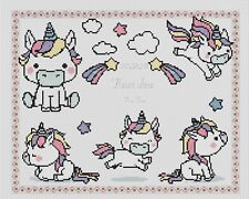 Cross stitch chart-Nuovo Bambino Nascita campionatore Unicorno Flowerpower 37-uk