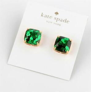 Kate Spade New York Small Square Stud Emerald Green Glitter Earrings