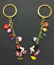 2x Disney Mickey & Minnie Mouse Keyrings Key Rings/Chains/Holders Bag Charms New