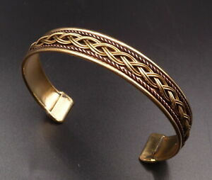 Unisex Solid Copper Adjustable Cuff Bangle Bracelet Indian Fashion Jewelry Mod 3