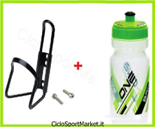 Portaborraccia + Borraccia in PE VERDE 600 ml bici Mountain Bike Corsa Strada
