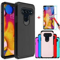 For LG V40 ThinQ Shockproof Armor Case Cover + Tempered Glass Screen Protector