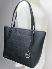 MICHAEL KORS CIARA MK SIGNATURE PVC + LEATHER JET SET EW TOP ZIP TOTE BAG BLACK