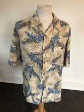 VINTAGE 80's BLUE & CREAM HAWAIIAN FLORAL SHORT SLEEVE RETRO SHIRT X LARGE