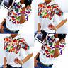 Women New Fashion Floral Printed Tops Loose Flare Sleeve Casual T-Shirt Blouse