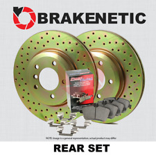REAR BRAKENETIC SPORT DRILLED Brake Rotors + POSI QUIET CERAMIC Pads BSK80557