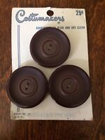 Vintage Costumakers Buttons on Card New Old Stock 3 Large Brown Buttons 1 3/8""