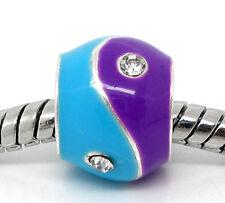 Rhinestone Blue Purple Enamel Bead fits Silver European Charm Bracelets