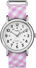 TW2R24200 Timex Women's Weekender Pink Gingham Nylon Slip-Thru Strap Watch