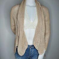 Cabi Open Knit Cardigan Sweater Carmel Tan Small