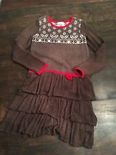 Hanna Andersson Sz 140 12 Brown Snowflake Tiered Ruffle Sweater Dress Christmas