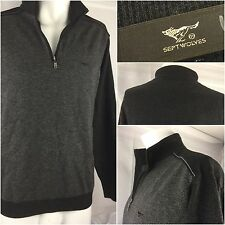 Septwolves Sweater Large EU 53 Gray 100% Wool Black 1/4 Zip Mint YGI 262A
