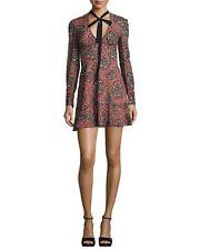 RED Valentino V-Neck Tie Long-Sleeve Printed Silk Mini Dress size 8
