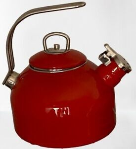 Martha Stewart Collection Macy's Enamel Steel Red Tea Kettle 2.5 Quart M118